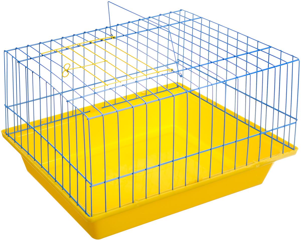 Клетка для морской свинки ЗооМарк, цвет: желтый поддон, синяя решетка, 41 х 30 х 25 см(210)_желтый, синийКлетка ЗооМарк, выполненная из полипропилена и металла, подходит для морских свинок и других грызунов. Клетка имеет яркий поддон, удобна в использовании и легко чистится. Сверху имеется ручка для переноски. Такая клетка станет личным пространством и уютным домиком для вашего питомца.
