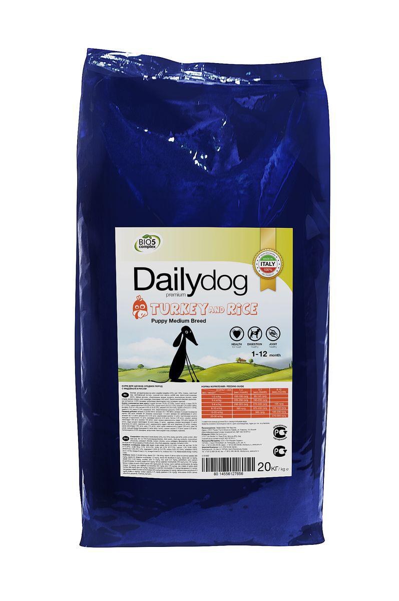 Корм сухой DailyDog Puppy Medium Breed, для щенков средних пород, с индейкой и рисом, 20 кг656ДДDailyDog — это корма следующего поколения, в которых сочетаются опыт, традиционный подход к питанию животных и новые разработки для улучшения качества жизни собак в условиях современного мегаполиса.
