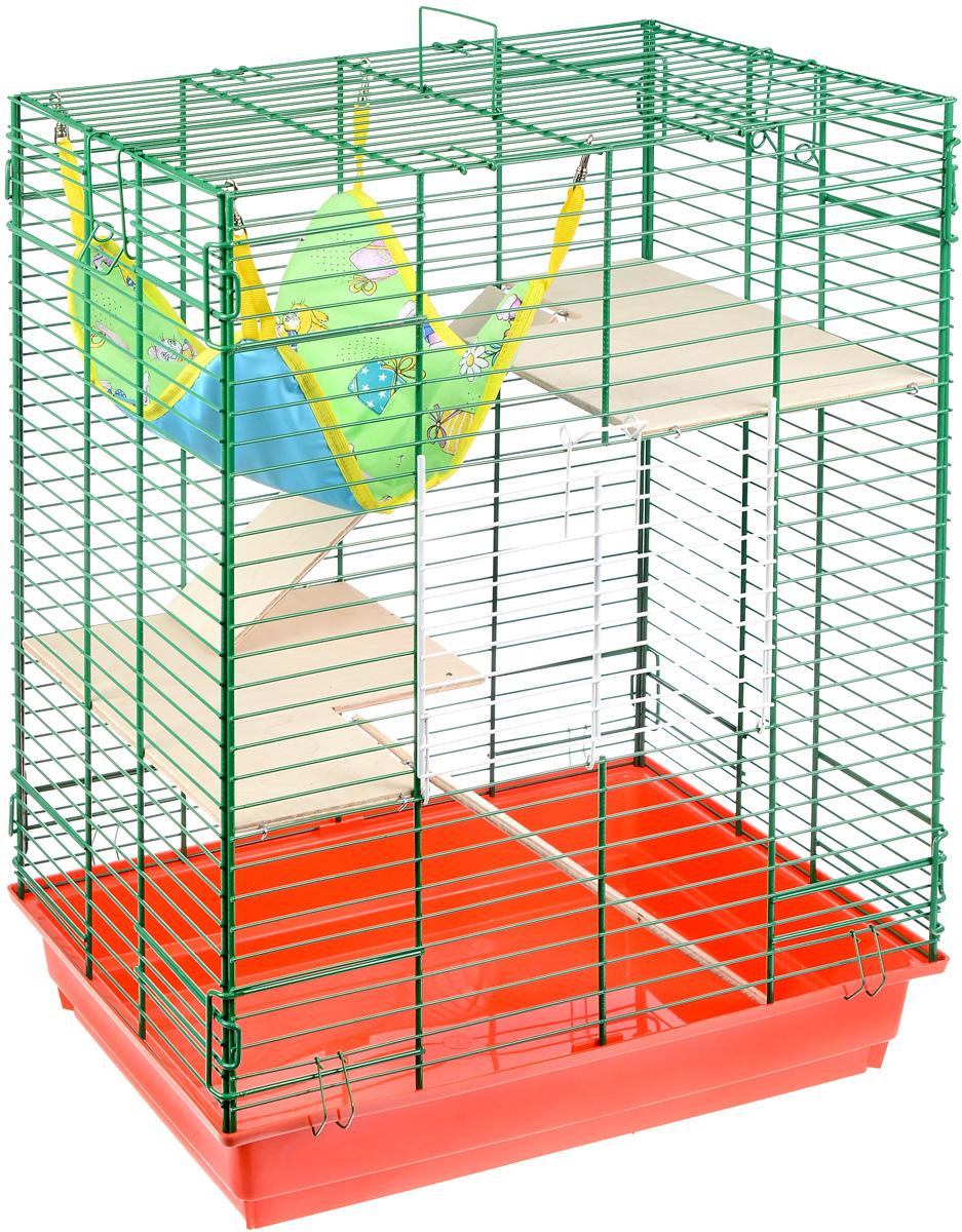 Клетка для шиншилл и хорьков ЗооМарк, цвет: красный поддон, зеленая решетка, 59 х 41 х 79 см. 725дк725дк_красныйКлетка ЗооМарк, выполненная из полипропилена и металла, подходит для шиншилл и хорьков. Большая клетка оборудована длинными лестницами и гамаком. Изделие имеет яркий поддон, удобно в использовании и легко чистится. Сверху имеется ручка для переноски. Такая клетка станет уединенным личным пространством и уютным домиком для грызуна.