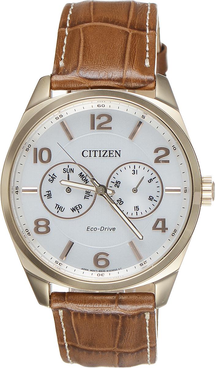 Часы наручные мужские Citizen Eco-Drive, цвет: золотой, белый. AO9024-16A