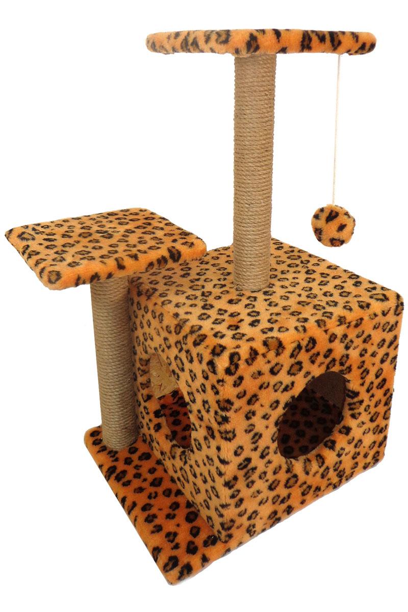 Игровой комплекс для животных Меридиан Домик-когтеточка Квадратный трехэтажный с двумя окошками, рисунок: ЛеопардовыйД131 Ле