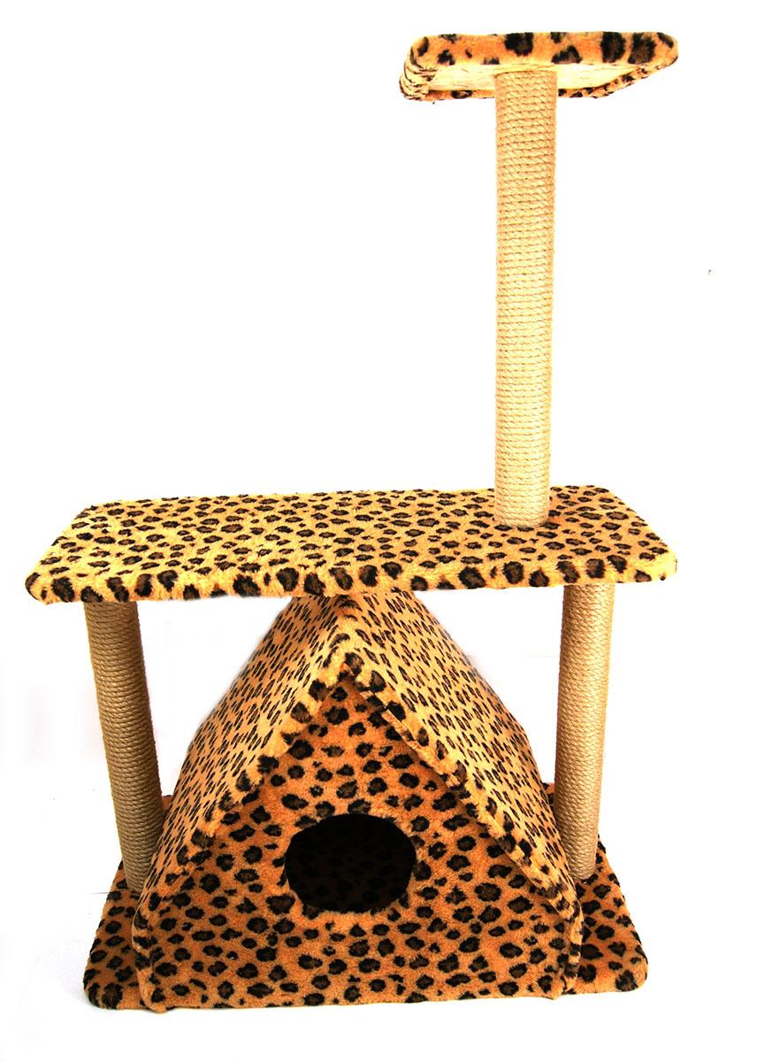 Игровой комплекс для животных Меридиан Домик Треугольный, с двумя полками, джут, леопардовый принт. Д311 ЛеД311 Ле