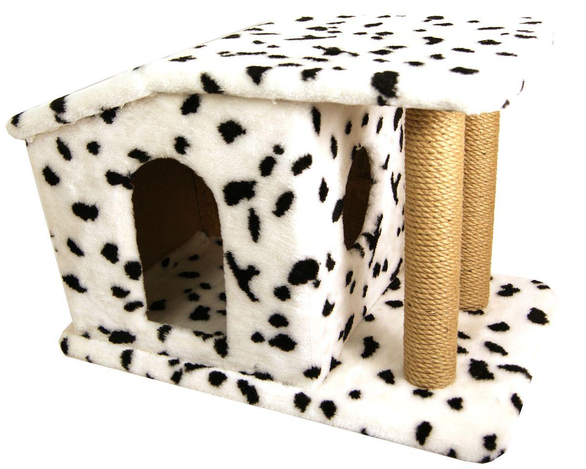 Игровой комплекс для животных Меридиан Домик Патриция, с колоннами, джут, рисунок: ДалматинД376 Д