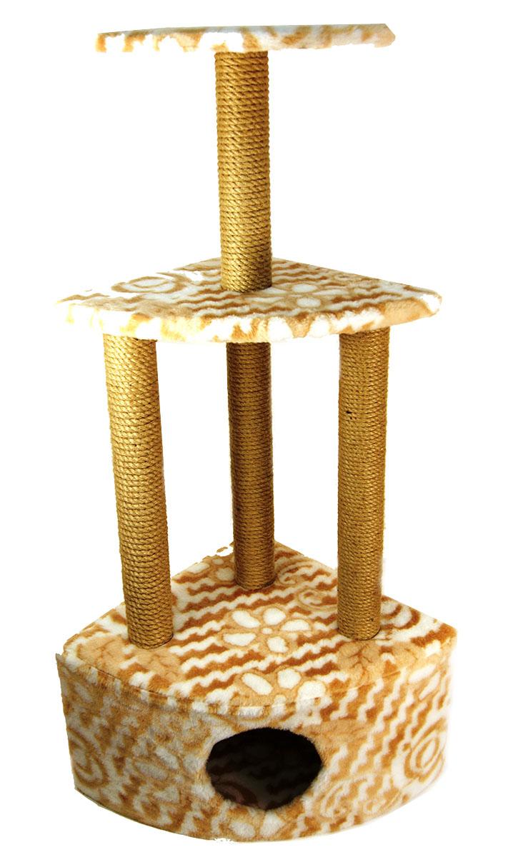Игровой комплекс для животных Меридиан Домик-когтеточка Угловой, трехярусный, джут,рисунок: ЦветыД431 Цв