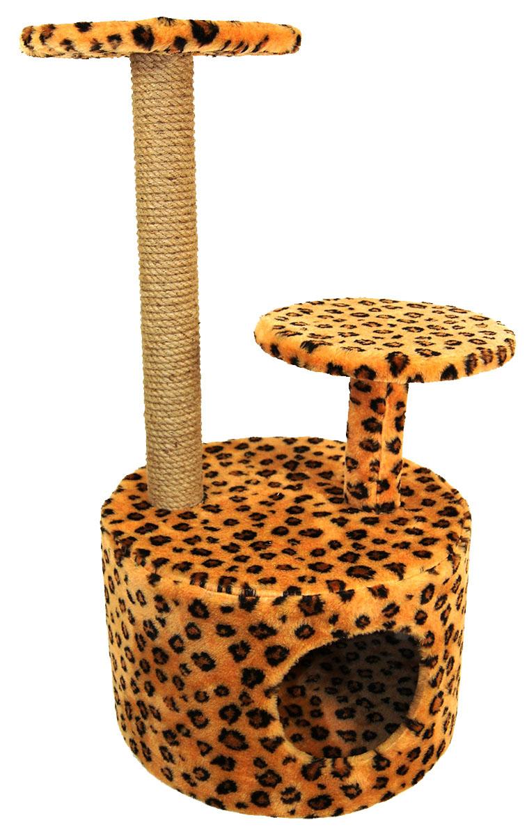 Игровой комплекс для животных Меридиан Домик Круглый, с двумя полками, джут, рисунок: ЛеопардовыйД514 Ле