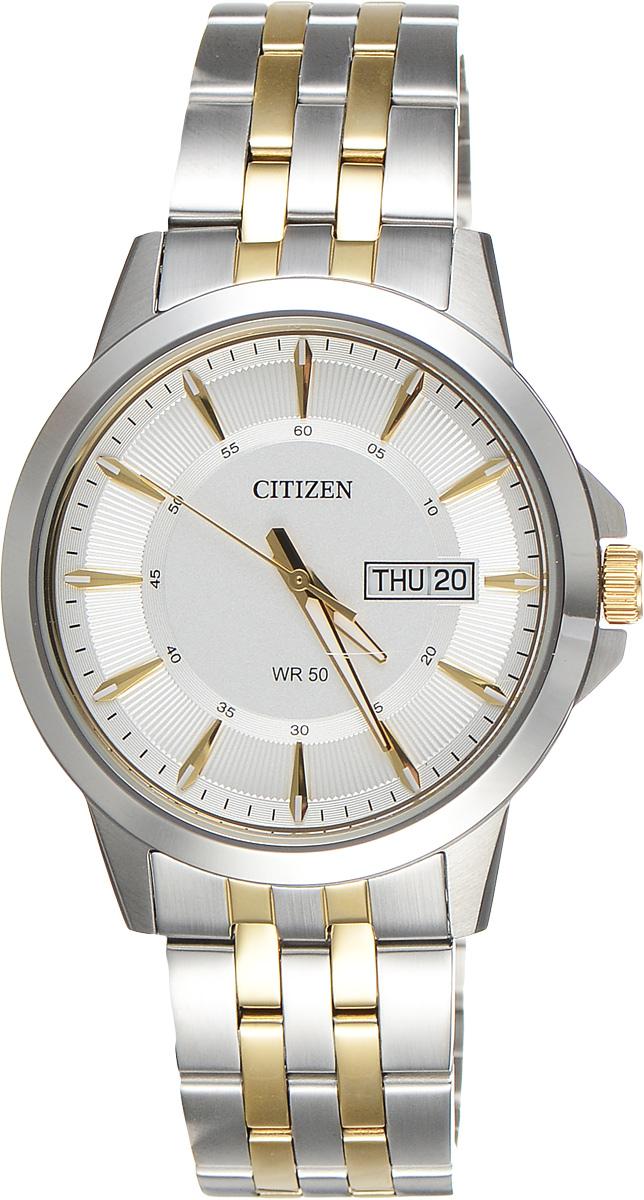 Часы наручные мужские Citizen, цвет: белый, стальной. BF2018-52AEBF2018-52AEСтильные мужские часы Citizen выполнены из нержавеющей стали и минерального стекла. Циферблат изделия оформлен символикой бренда. Корпус часов оснащен степенью влагозащиты 5 bar, а также устойчивым к царапинам минеральным стеклом. Циферблат дополнен индикатором даты. На стрелки и циферблат часов нанесен светящийся состав. Элегантный браслет, идеально дополняющий корпус изделия, оснащен застежкой-клипсой, которая позволит максимально комфортно снимать и надевать часы. Изделие поставляется в фирменной упаковке. Часы Citizen подчеркнут мужской характер и отменное чувство стиля у их обладателя.