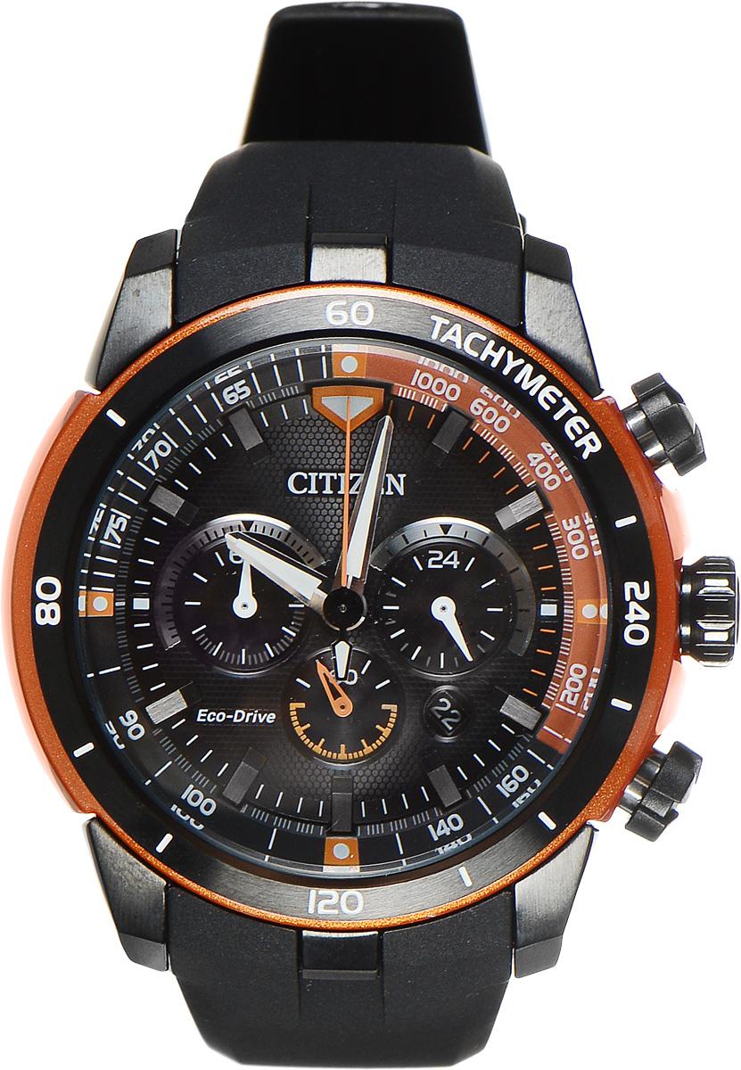 Часы наручные мужские Citizen Eco-Drive, цвет: черный, оранжевый. CA4154-07ECA4154-07EСтильные многофункциональные мужские часы Citizen Eco-Drive выполнены из нержавеющей стали. Циферблат изделия оформлен символикой бренда. Часы оснащены тахиметрической шкалой, функцией хронографа, функцией отображения времени в формате 12/24 и секундомером. Корпус часов обладает степенью влагозащиты 10 bar, а также оснащен устойчивым к царапинам минеральным стеклом. Циферблат дополнен индикатором числа. Элегантный ремешок из полимерного материала, идеально дополняющий корпус изделия, оснащен практичной пряжкой, которая позволит максимально комфортно снимать и надевать часы. Современная технология Eco-Drive позволяет заряжать аккумулятор изделия с помощью любого естественного или искусственного источника света. Часы поставляются в фирменной упаковке. Часы Citizen Eco-Drive подчеркнут мужской характер и отменное чувство стиля у их обладателя.