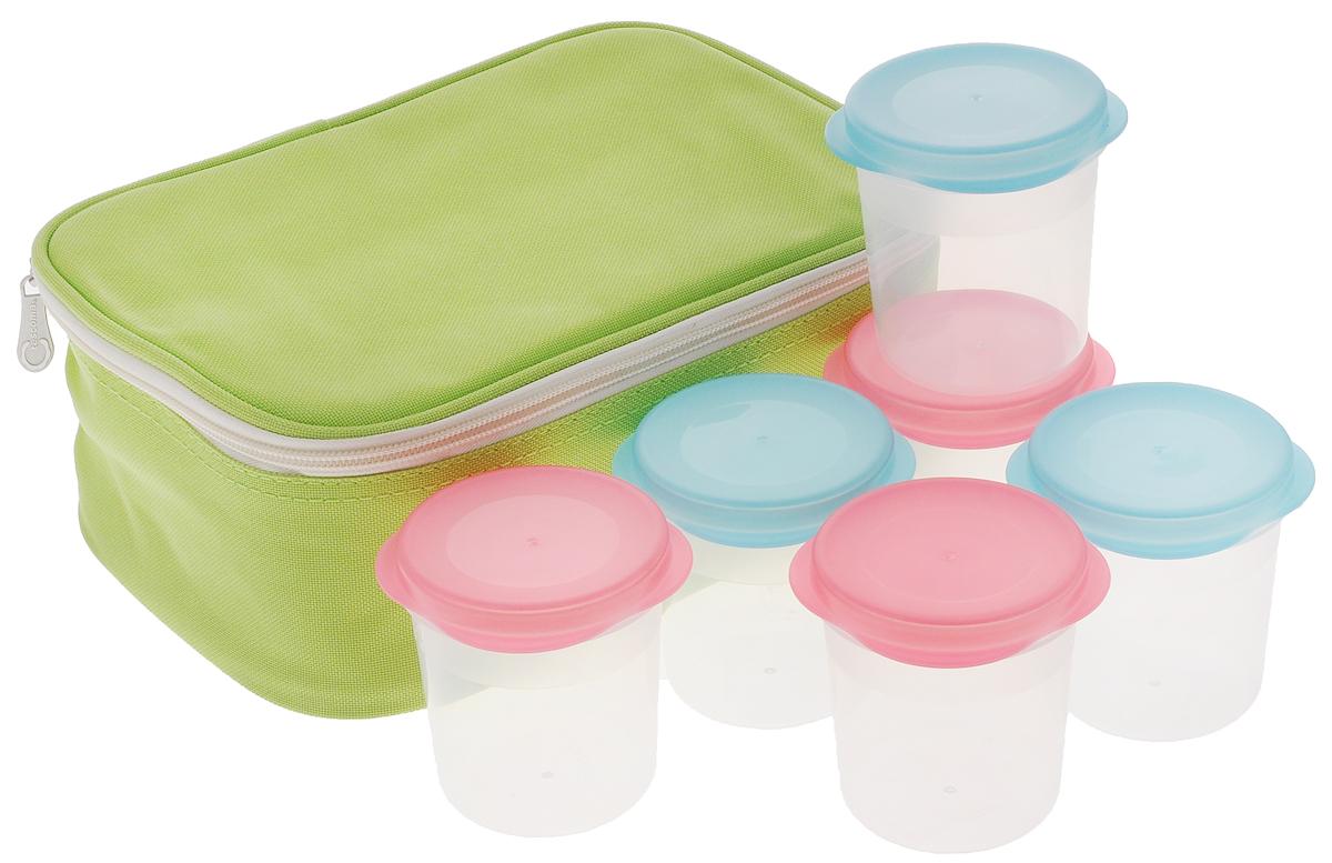 Йогуртница Tescoma Bambini, 6 стаканчиков, с термосумкой668240Йогуртница Tescoma Bambini прекрасно подходит для простого и быстрого приготовления домашних йогуртов. Йогурты созревают естественным способом в стаканчиках, хранящихся в термосумке с эффективным термоизоляционным вкладышем. Стаканчики пригодны для хранения в холодильнике, морозильнике, использования в микроволновой печи и в посудомоечной машине. Термосумку очищайте влажной салфеткой, не стирайте в стиральной машине и сушилке, не гладьте. Инструкция по приготовлению домашнего йогурта входит в упаковку. Объем стаканчика: 150 мл. Диаметр стаканчика (по верхнему краю): 7 см. Высота стаканчика: 8 см. Размер сумки: 25 х 18 х 10 см.