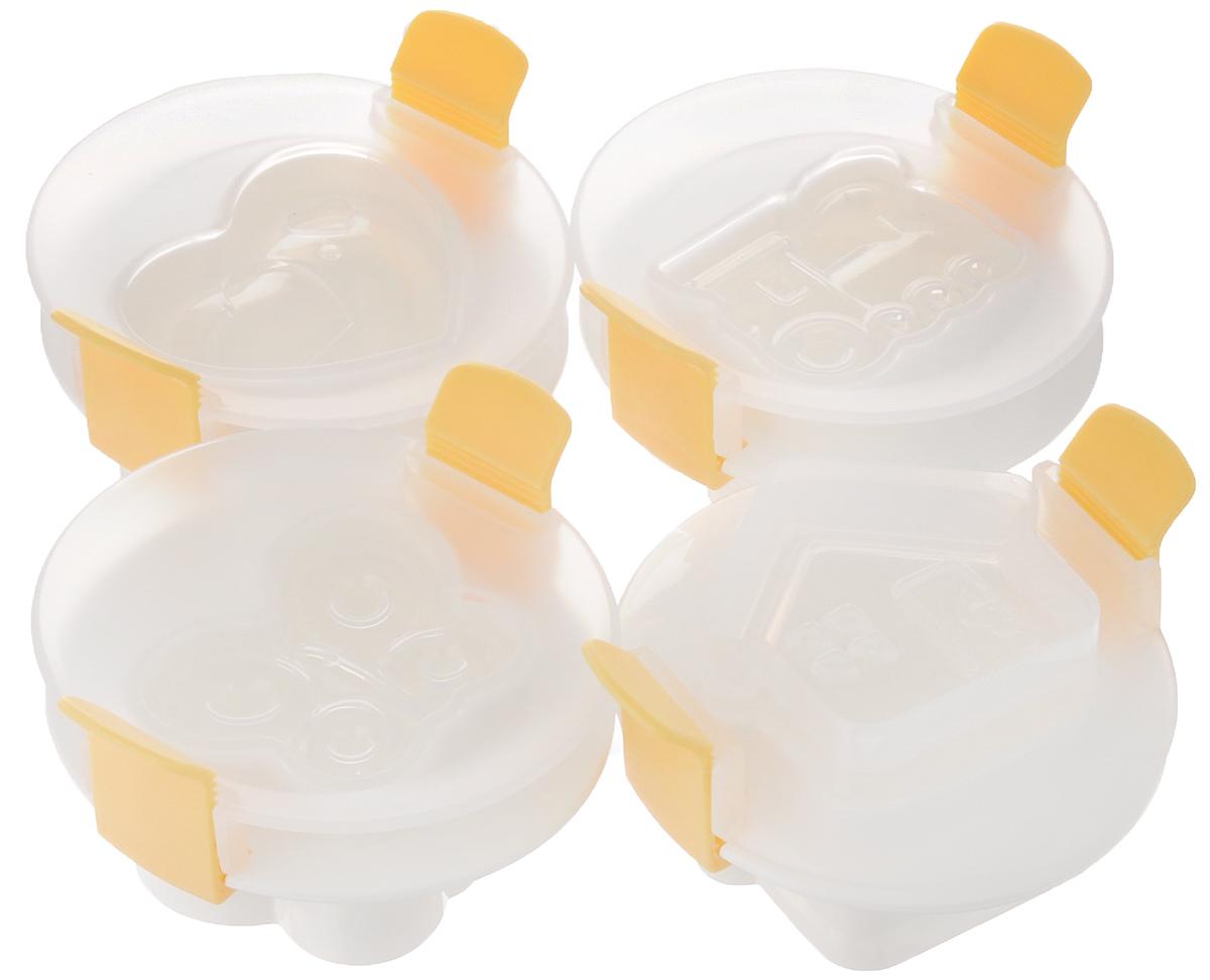 Формочка для придания яйцу формы Tescoma Presto, 4 шт420658Формочки Tescoma Presto отлично подходят для придания формы яйцам всех размеров (S, M, L, XL). Изделия выполнены из прочного пищевого пластика. Придают яйцам форму в виде бабочки, домика, сердца и паровозика. Чтобы получились красивые фигурные яйца, необходимо сварить их вкрутую, очистить и положить в форму, пока они еще теплые. Поместить крышку на форму с яйцом внутри и сильно на нее надавить. Положить закрытую форму с яйцом в холодную воду и дать остыть в течение 10 минут. Можно мыть в посудомоечной машине. Размер формы: 8,5 х 9,5 х 5 см.
