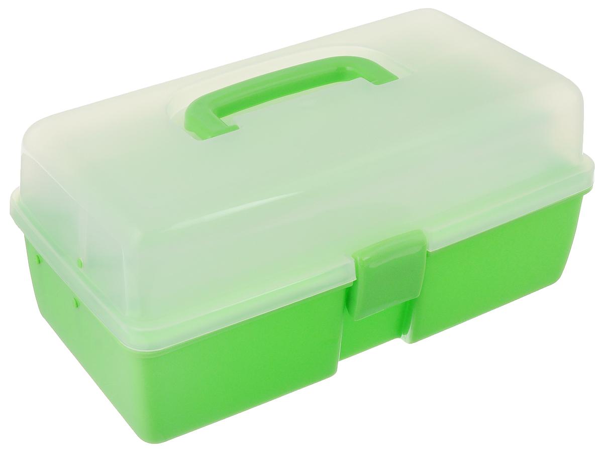 Шкатулка трехъярусная Alfa, цвет: зеленый, прозрачный, 34 x 19 x 16 смAF-3523GТрехъярусная шкатулка Alfa изготовлена из прочного пластика. Изделие предназначено для хранения швейных принадлежностей, мелких бытовых предметов. Шкатулка закрывается на защелку, внутри имеются 3 яруса: одно большое нижнее отделение для хранения крупных предметов, среднее отделение с 5 ячейками и верхнее с 3 ячейками. Для удобной переноски имеется ручка.