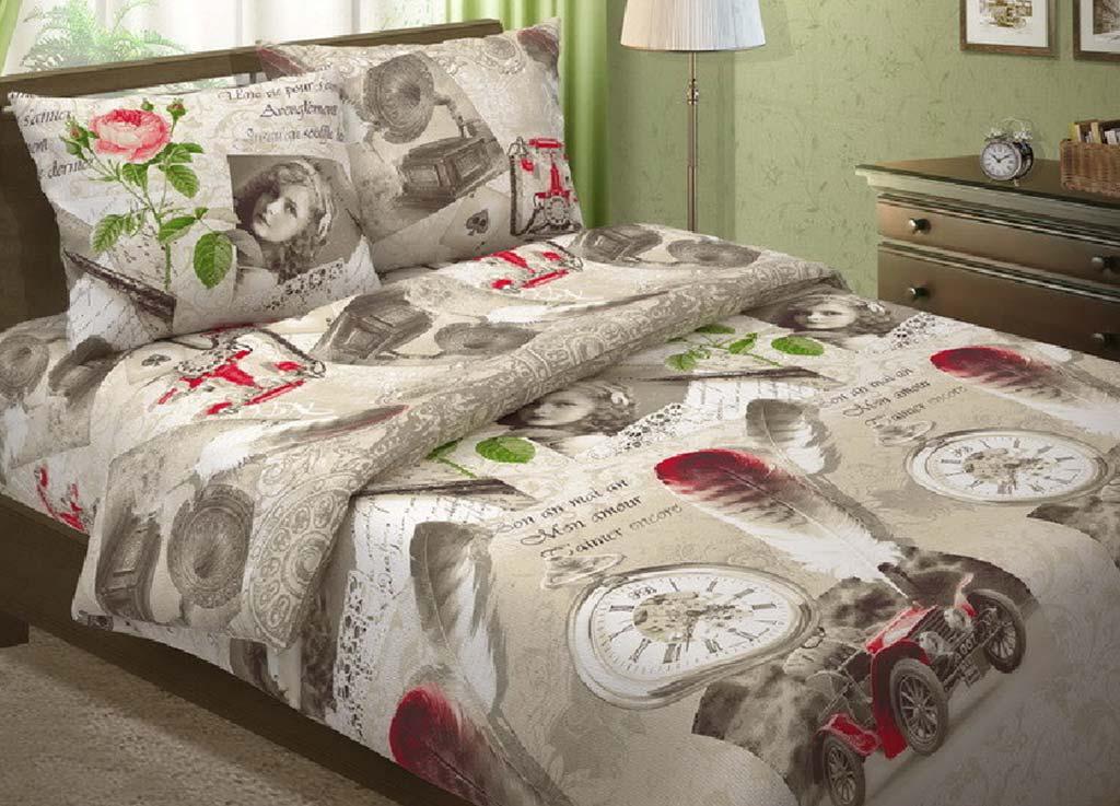 Комплект белья Primavera Винтаж, 1,5-спальный, наволочки 70x70, цвет: серый80676Комплект белья Primavera Винтаж состоит из пододеяльника, простыни и двух наволочек. Постельное белье, выполненное из бязи, оформлено оригинальным рисунком и имеет изысканный внешний вид. Наволочки с декоративным кантом особенно подойдут, если вы предпочитаете класть подушки поверх покрывала. Кайма шириной 5-10 см с трех или четырех сторон делает подушки визуально более объемными, смотрятся они очень аккуратно, даже парадно. Еще такие наволочки называют оксфордскими или наволочками с ушками. Производство Примавера находится в Китае, что позволяет сократить расходы на доставку хлопка. Поэтому цены на это постельное белье более чем скромные и это не сказывается на качестве.