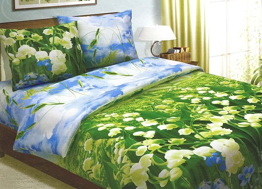 Комплект белья Primavera Ландыши, 1,5-спальный, наволочки 70x70, цвет: голубой-зеленый80677Наволочки с декоративным кантом особенно подойдут, если вы предпочитаете класть подушки поверх покрывала. Кайма шириной 5-10см с трех или четырех сторон делает подушки визуально более объемными, смотрятся они очень аккуратно, даже парадно. Еще такие наволочки называют оксфордскими или наволочками «с ушками». Сатин – прочная и плотная ткань с диагональным переплетением нитей. Хлопковый сатин по мягкости и гладкости уступает атласу, зато не будет соскальзывать с кровати. Сатиновое постельное белье легко переносит стирку в горячей воде, не выцветает. Прослужит комплект из обычного сатина меньше, чем из сатина повышенной плотности, но дольше белья из любой другой хлопковой ткани. Сатин приятен на ощупь, под ним комфортно спать летом и зимой. Производство «Примавера» находится в Китае, что позволяет сократить расходы на доставку хлопка. Поэтому цены на это постельное белье более чем скромные и это не сказывается на качестве. Сатин очень гладкий, мягкий, но при этом, невероятно прочный....