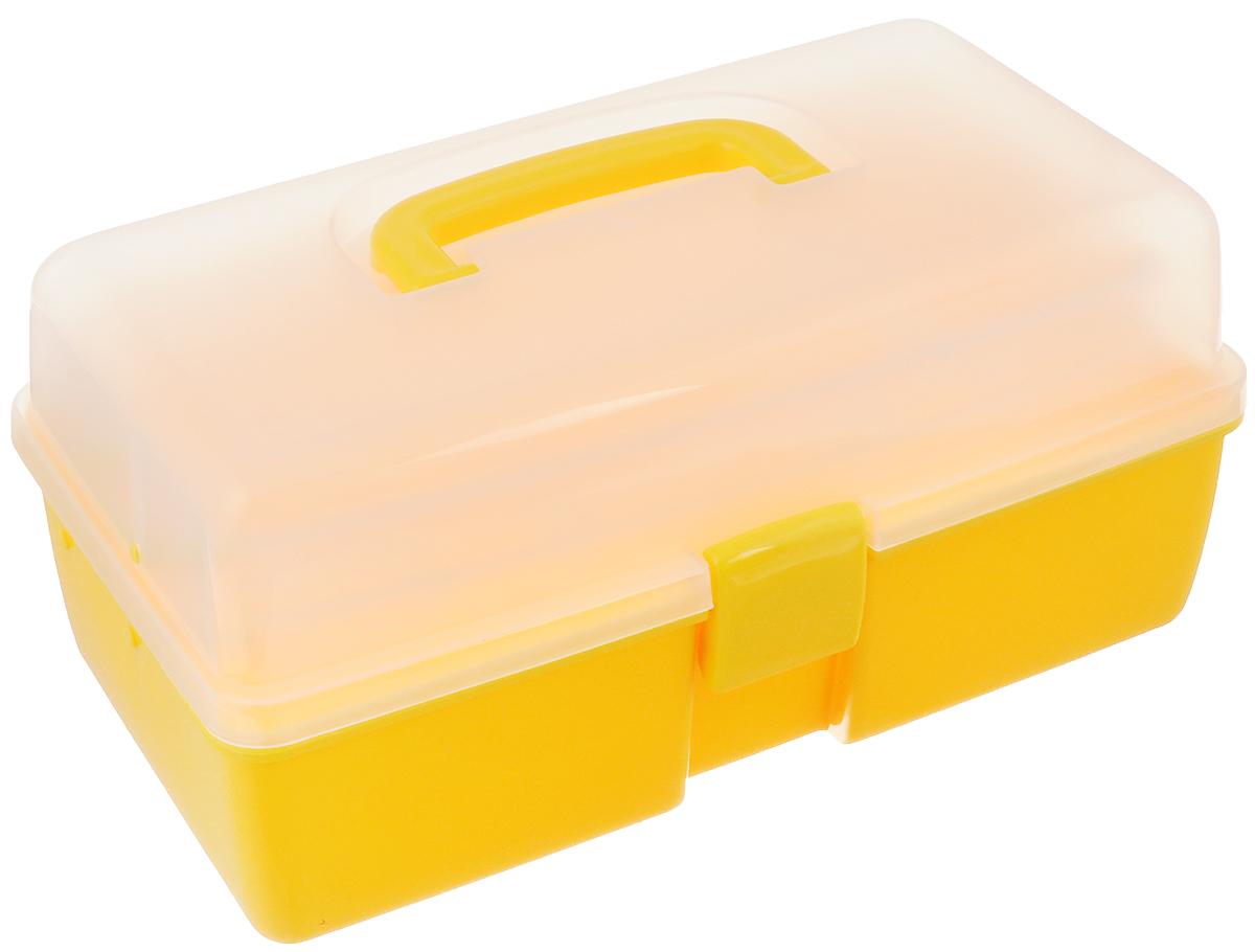 Шкатулка трехъярусная Alfa, цвет: желтый, прозрачный, 34 x 19 x 16 смAF-3523YТрехъярусная шкатулка Alfa изготовлена из прочного пластика. Изделие предназначено для хранения швейных принадлежностей, мелких бытовых предметов. Шкатулка закрывается на защелку, внутри имеются 3 яруса: одно большое нижнее отделение для хранения крупных предметов, среднее отделение с 5 ячейками и верхнее с 3 ячейками. Для удобной переноски имеется ручка.