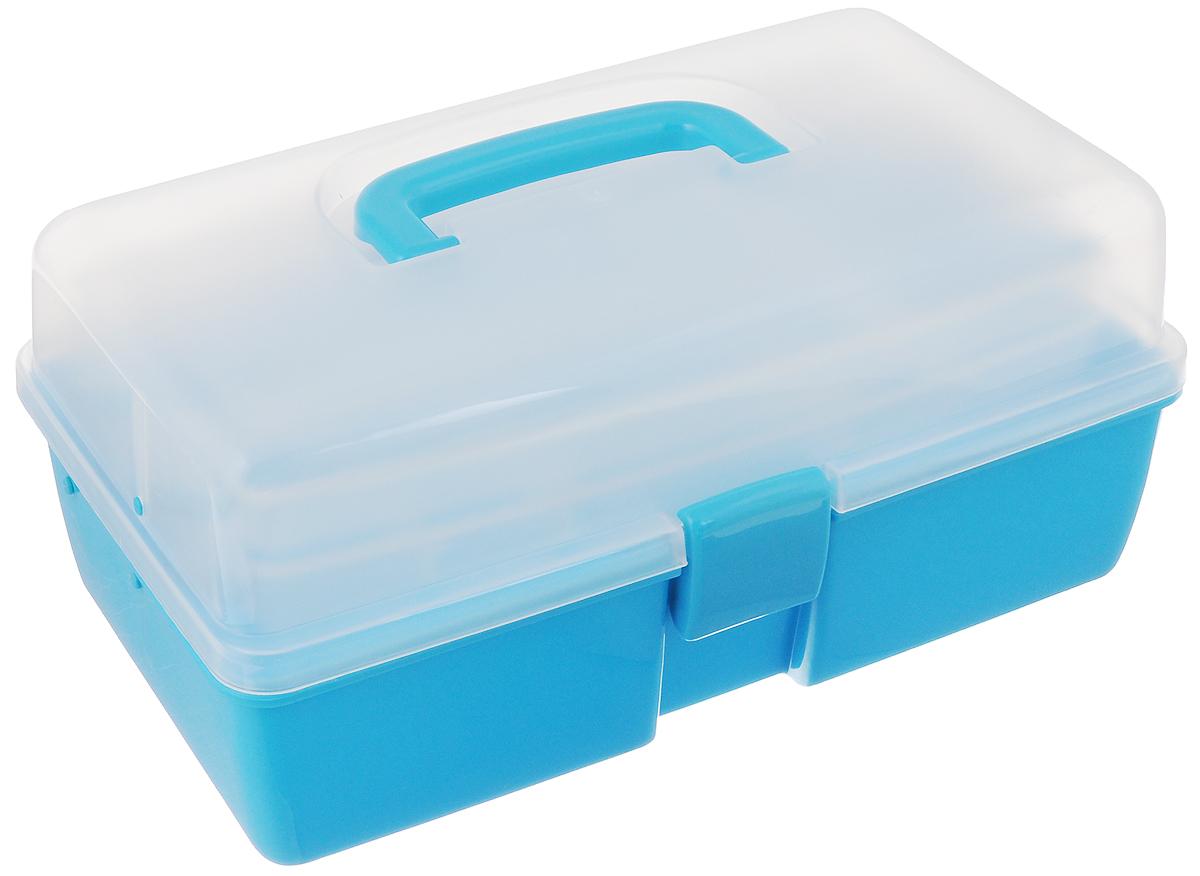 Шкатулка трехъярусная Alfa, цвет: голубой, прозрачный, 34 x 19 x 16 смAF-3523BТрехъярусная шкатулка Alfa изготовлена из прочного пластика. Изделие предназначено для хранения швейных принадлежностей, мелких бытовых предметов. Шкатулка закрывается на защелку, внутри имеются 3 яруса: одно большое нижнее отделение для хранения крупных предметов, среднее отделение с 5 ячейками и верхнее с 3 ячейками. Для удобной переноски имеется ручка.