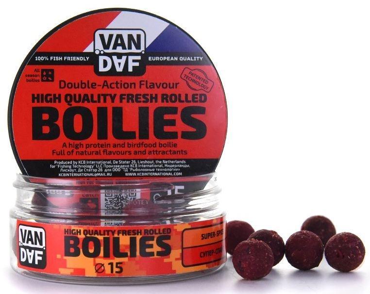 Бойлы VAN DAF Супер-спайс, цвет: красный, диаметр 15 мм, 100 г57284Бойлы VAN DAF Супер-спайс произведены на современном оборудовании по технологии D.A.F. (Double Action Flavour). Этот способ производства на протяжении многих лет подтверждает высочайшее качество продукции и показывает отличные результаты на рыболовных сессиях. В особенности данной технологии заложена концепция дуализма, суть которой - в уникальной сочетаемости вкуса и аромата. Бойлы оказывают двойное воздействие на обонятельно-вкусовые рецепторы каждого карпа. Такие бойлы - это высокопротеиновый продукт, изготовленный из высококачественных ингредиентов с использованием казеината кальция, яичного альбумина, рыбной муки, специй, ореховых и бобовых добавок. Обязательным является применение в рецептах N.H.D.C. подсластителя и масляной кислоты (N-Butyric Acid) - веществ, которые зарекомендовали себя, как наиболее эффективные при ловле карпа. Бойлы показывают высокие результаты на водоемах любого типа и полностью адаптированы к российским условиям. Подходят как для...