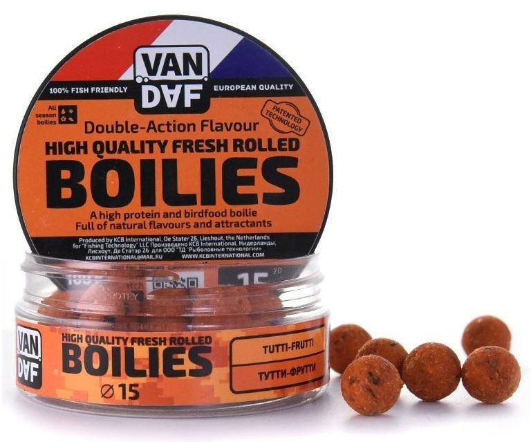 Бойлы VAN DAF Тутти-фрутти, цвет: оранжевый, диаметр 15 мм, 100 г57285Бойлы VAN DAF Тутти-фрутти произведены на современном оборудовании по технологии D.A.F. (Double Action Flavour). Этот способ производства на протяжении многих лет подтверждает высочайшее качество продукции и показывает отличные результаты на рыболовных сессиях. В особенности данной технологии заложена концепция дуализма, суть которой - в уникальной сочетаемости вкуса и аромата. Бойлы оказывают двойное воздействие на обонятельно-вкусовые рецепторы каждого карпа. Такие бойлы - это высокопротеиновый продукт, изготовленный из высококачественных ингредиентов с использованием казеината кальция, яичного альбумина, рыбной муки, специй, ореховых и бобовых добавок. Обязательным является применение в рецептах N.H.D.C. подсластителя и масляной кислоты (N-Butyric Acid) - веществ, которые зарекомендовали себя, как наиболее эффективные при ловле карпа. Бойлы показывают высокие результаты на водоемах любого типа и полностью адаптированы к российским условиям. Подходят как для...