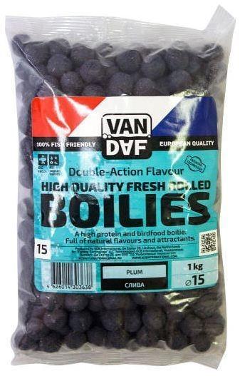 Бойлы VAN DAF Слива, цвет: фиолетовый, диаметр 15 мм, 1 кг57290Бойлы VAN DAF Слива произведены на современном оборудовании по технологии D.A.F. (Double Action Flavour). Этот способ производства на протяжении многих лет подтверждает высочайшее качество продукции и показывает отличные результаты на рыболовных сессиях. В особенности данной технологии заложена концепция дуализма, суть которой - в уникальной сочетаемости вкуса и аромата. Бойлы оказывают двойное воздействие на обонятельно-вкусовые рецепторы каждого карпа. Такие бойлы - это высокопротеиновый продукт, изготовленный из высококачественных ингредиентов с использованием казеината кальция, яичного альбумина, рыбной муки, специй, ореховых и бобовых добавок. Обязательным является применение в рецептах N.H.D.C. подсластителя и масляной кислоты (N-Butyric Acid) - веществ, которые зарекомендовали себя, как наиболее эффективные при ловле карпа. Бойлы показывают высокие результаты на водоемах любого типа и полностью адаптированы к российским условиям. Подходят как для прикармливания,...