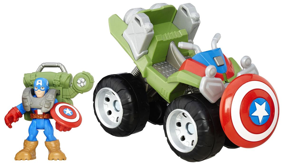 Playskool Набор фигурок 4x4 Jungle Captain AmericaB0230EU6_B5702Набор фигурок Playskool 4x4 Jungle Captain America непременно привлечет внимание вашего ребенка и не позволит ему скучать. Набор включает в себя фигурку супергероя Капитана Америки и его суперквадроцикл. Игрушки выполнены из прочного безопасного пластика. Голова, руки и ноги фигурки Капитана Америки подвижны, что позволяет придавать ей различные позы и открывает малышу неограниченный простор для игр. В комплект также входит боевой ранец Капитана Америки. Такой набор обязательно понравится вашему ребенку, и он проведет множество счастливых мгновений, играя с ним и придумывая различные истории. Рекомендуемый возраст: от 3 до 7 лет.