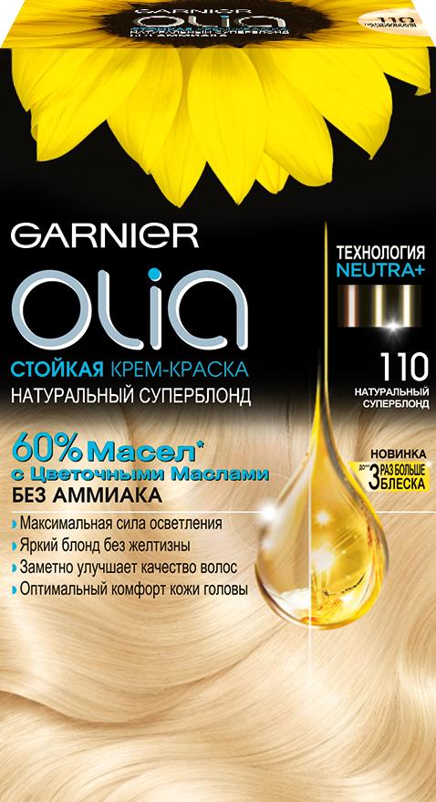 Garnier Стойкая крем-краска для волос Olia без аммиака, оттенок 110, Ультраблонд, 160 млC5424200Стойкая крем-краска без аммиака c цветочным маслом и изысканным ароматом. Натуральный суперблонд. Максимальная сила осветления до 4 тонов. Уникальная технология для чистого блонда без желтизны. Заметно улучшает качество волос. Оптимальный комфорт кожи головы.
