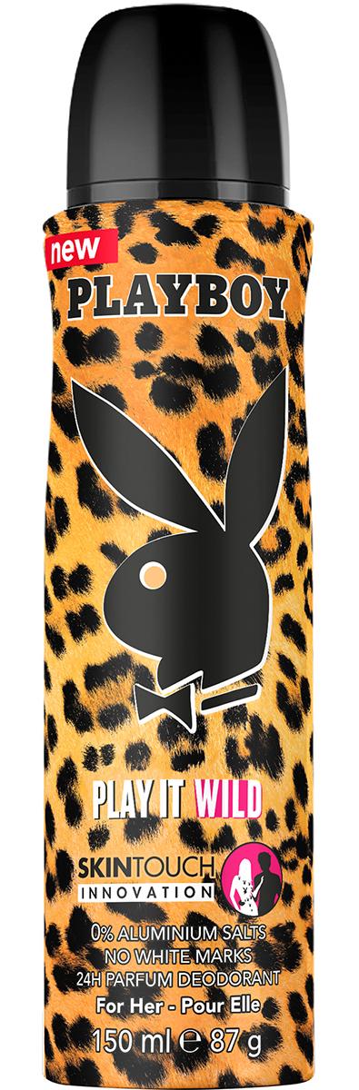 Playboy Дезодорант-спрей парфюмированный Play It Wild, женский, 150 мл34021553/3614221139677Начни свой день с дезодорантом Playboy, и он подарит тебе свежесть и сексуальность на 24 часа. Парфюмированные дезодоранты Playboy Skintouch содержат специальные капсулы с дополнительной парфюмерной композицией. При прикосновениях капсулы высвобождают дополнительный армат, который придает чуственный штрих любому образу.