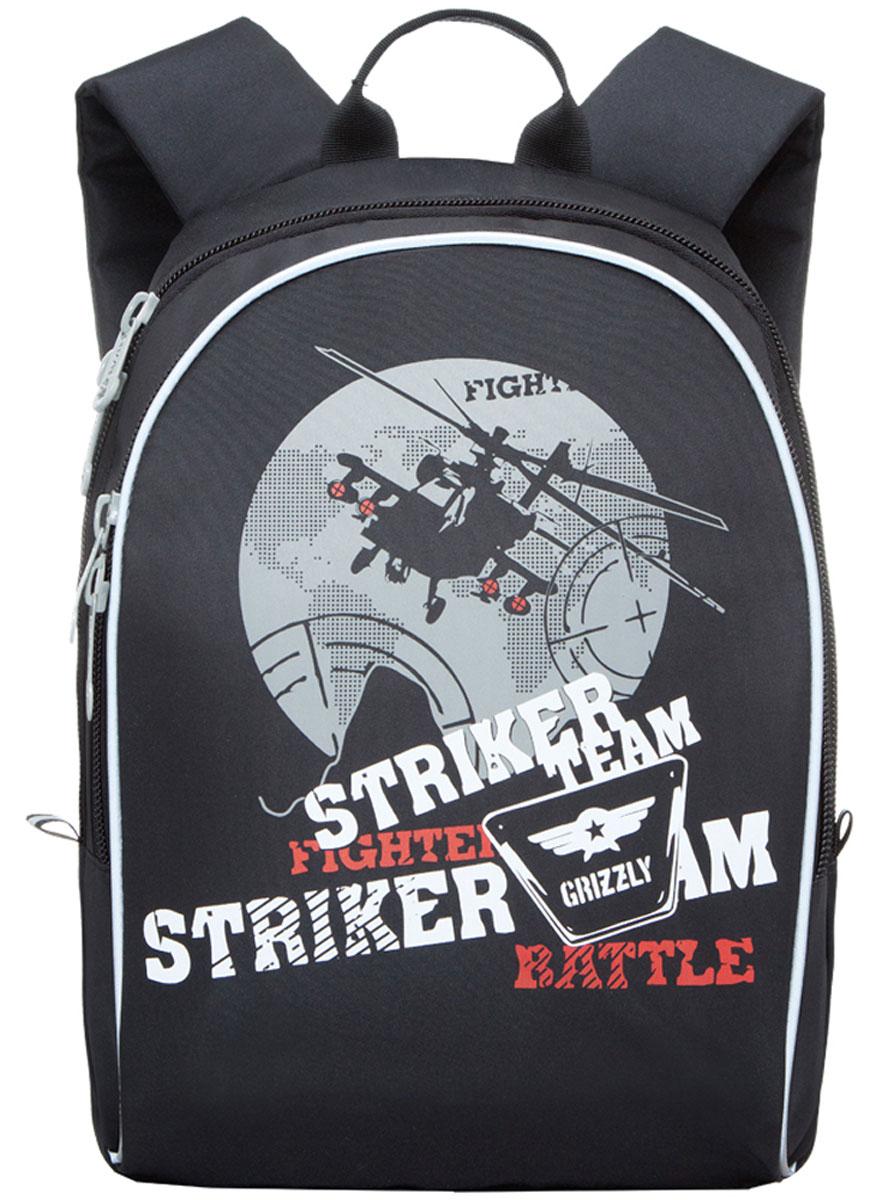 Grizzly Рюкзак детский Striker Team цвет черный серыйRB-628-2/4Школьный рюкзак Grizzly Striker Team - это красивый и удобный рюкзак, который подойдет всем, кто хочет разнообразить свои школьные будни. Рюкзак выполнен из плотного материала и оформлен оригинальным принтом с военной тематикой. Рюкзак имеет одно основное отделение на молнии с двумя бегунками, внутри которого находится один открытый накладной карман. Спереди на рюкзаке располагается наружный карман на молнии с двумя бегунками, содержащий органайзер для школьных принадлежностей. Бегунки застежки-молнии дополнены удобными металлическими держателями с логотипом Grizzly. Мягкие широкие лямки со светоотражающими полосами позволяют легко и быстро отрегулировать рюкзак в соответствии с ростом. Рюкзак также оснащен петлей для подвешивания на вешалку. Многофункциональный школьный рюкзак станет незаменимым спутником вашего ребенка в походах за знаниями.