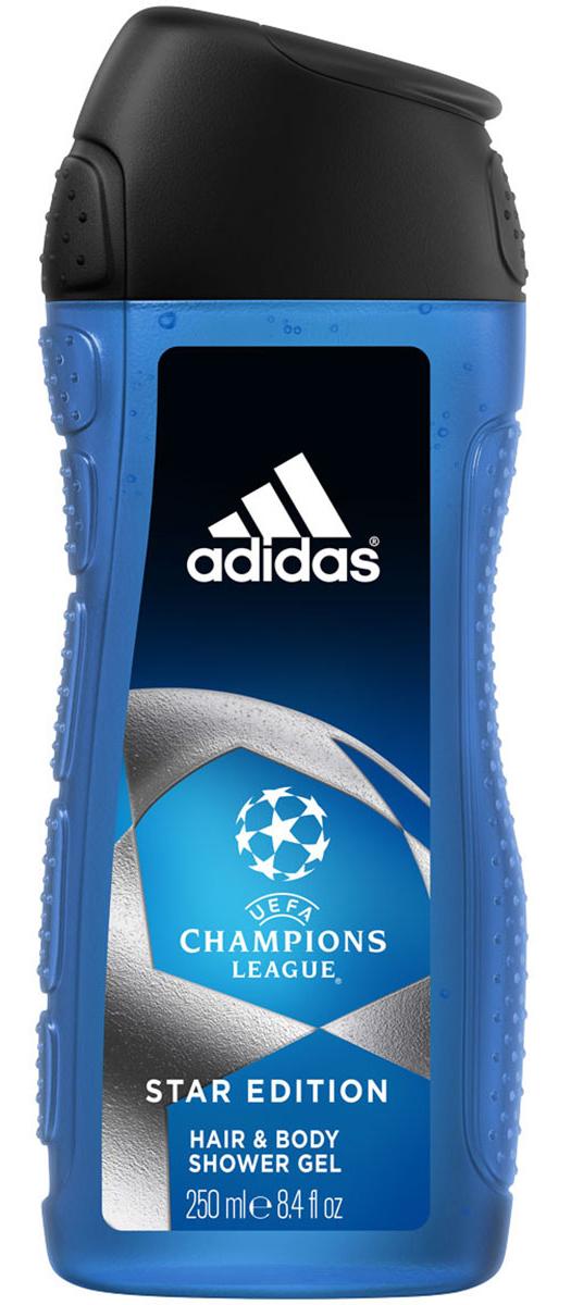 Adidas Гель для душа UEFA II, мужской, 250 мл340005260075/3614221204344Adidas UEFA Champions League Star Edition - гель для душа для тела и волос для мужчин. Его свежий динамичный аромат пробудит ваши чувства. Подходит для ежедневного применения / Не нарушает pH баланс / Прошел дерматологическое тестирование.