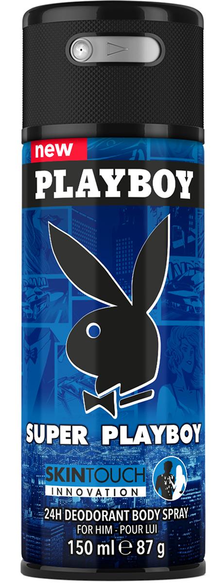 """Playboy Дезодорант-спрей парфюмированный """"Super Skintouch"""", мужской, 150 мл"""