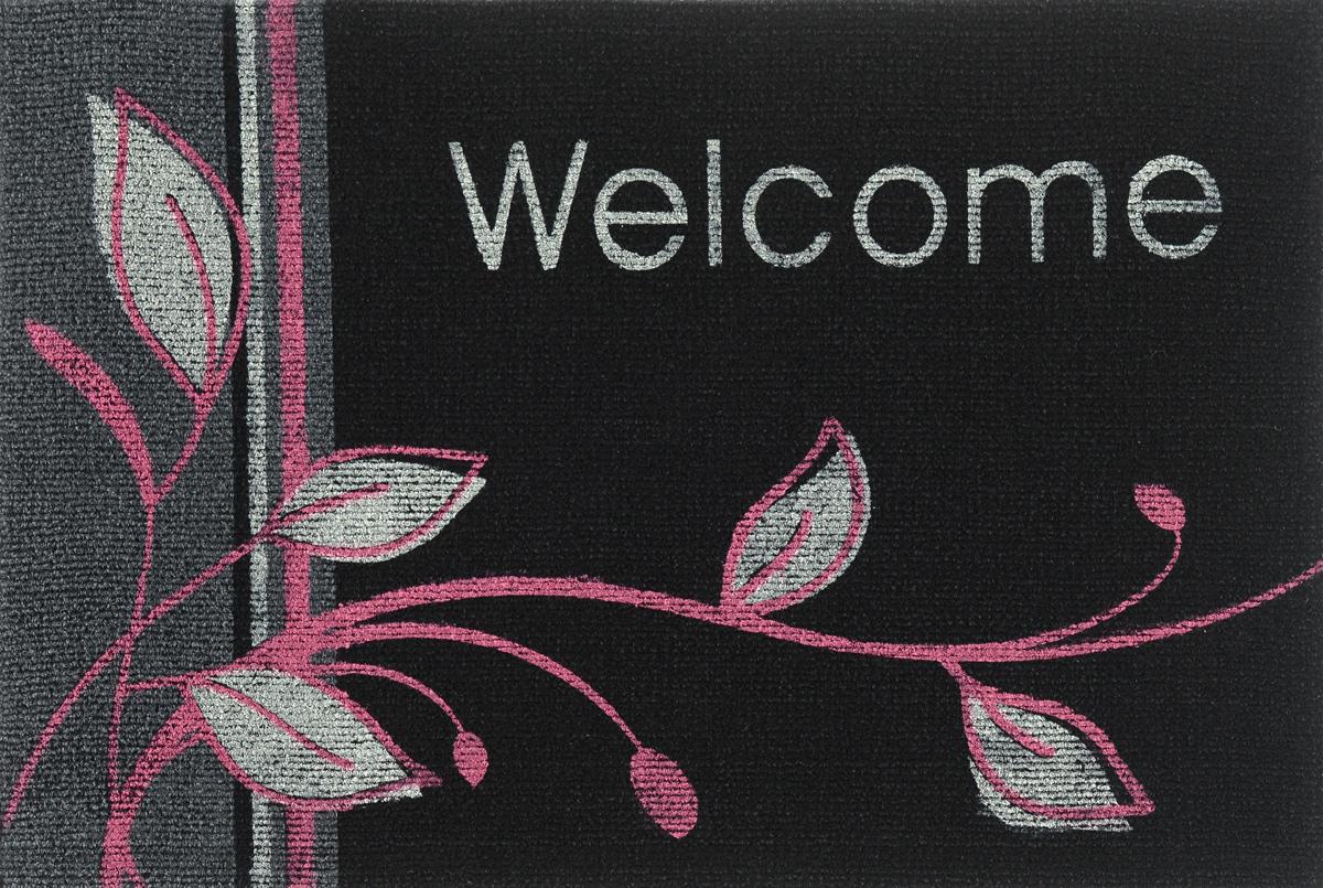 """EFCO (Egyptian fibers company) Коврик придверный EFCO """"Нью Эден"""", цвет: черный, белый, розовый, 68 х 45 см"""