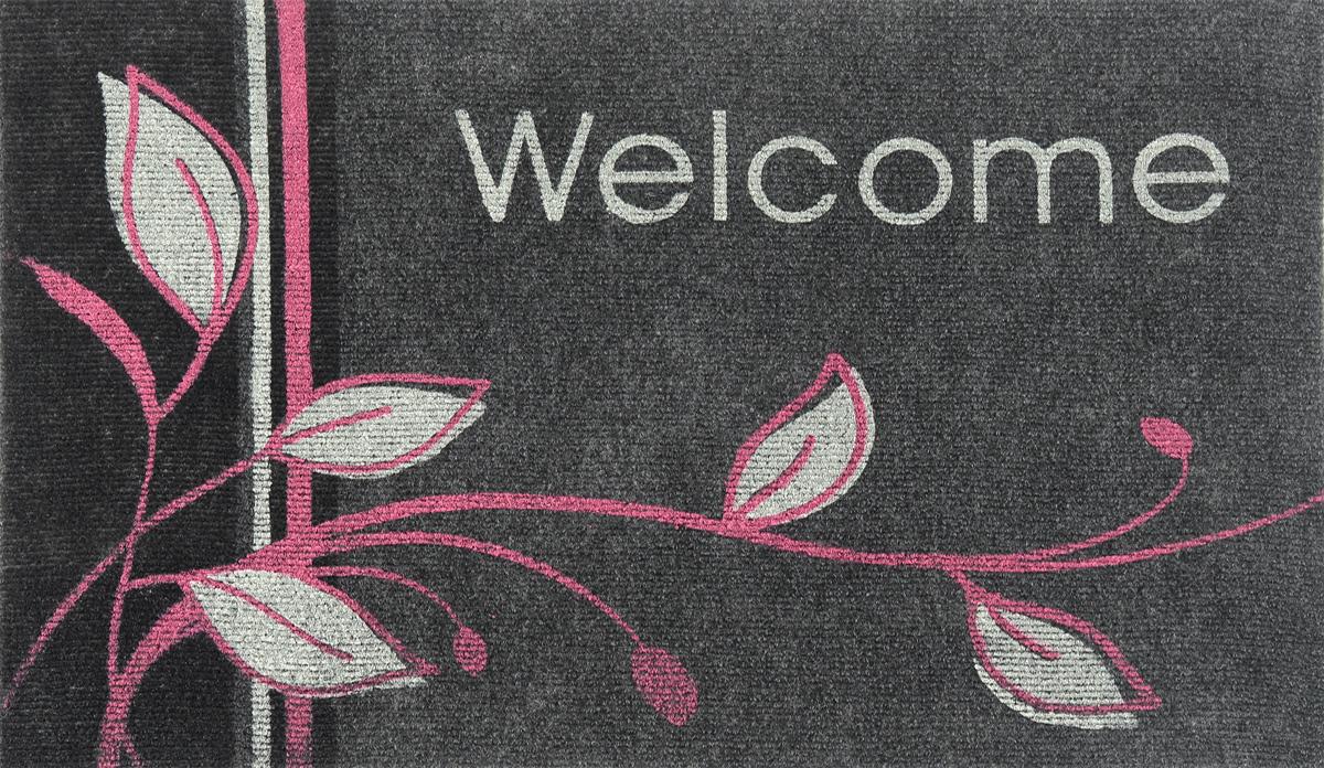 """EFCO (Egyptian fibers company) Коврик придверный EFCO """"Нью Эден"""", цвет: серый, белый, розовый, 68 х 45"""