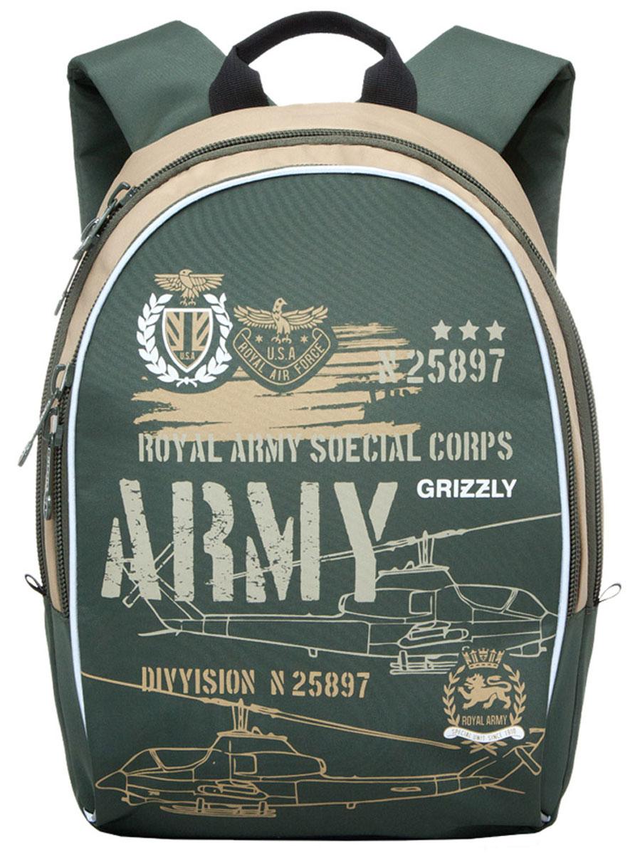 Grizzly Рюкзак школьный Army цвет оливковыйRB-628-3/2Школьный рюкзак Grizzly Army - это красивый и удобный рюкзак, который подойдет всем, кто хочет разнообразить свои школьные будни. Рюкзак выполнен из плотного материала и оформлен оригинальным принтом с военной тематикой. Рюкзак имеет одно основное отделение на молнии с двумя бегунками, внутри которого находится один открытый накладной карман. Спереди на рюкзаке располагается наружный карман на молнии с двумя бегунками, содержащий органайзер для школьных принадлежностей. Бегунки застежки-молнии дополнены удобными металлическими держателями с логотипом Grizzly. Мягкие широкие лямки со светоотражающими полосами позволяют легко и быстро отрегулировать рюкзак в соответствии с ростом. Рюкзак также оснащен петлей для подвешивания на вешалку. Многофункциональный школьный рюкзак станет незаменимым спутником вашего ребенка в походах за знаниями.