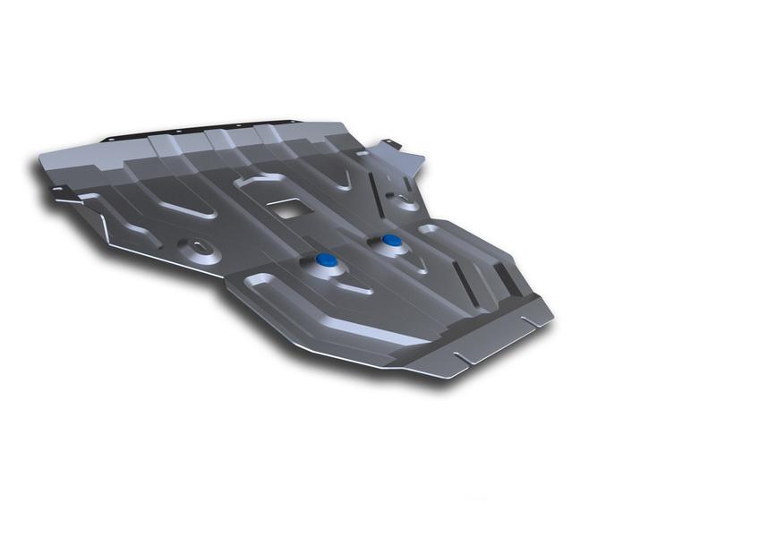 Защита картера Rival, для BMW X3. 333.0506.2333.0506.2Алюминиевые защиты картера Rival надежно защищают днище автомобиля от повреждений при наезде на бордюры, выступающие канализационные люки, кромки поврежденного асфальта или при ремонте дорог, не говоря уже о загородных дорогах. Толщина алюминиевых защит Rival - 4 мм, что в 2 раза толще стальных, а вес при этом меньше на 30%. Алюминий отлично отводит тепло от двигателя своей поверхностью, что спасает его от перегрева в летний период или при высоких нагрузках. В отличие от стальных, алюминиевые защиты не поддаются коррозии, что гарантирует срок службы защит более 5 лет. Отметим, что на рынке только алюминиевые защиты Rival дополнительно покрываются порошковой краской, что надолго сохраняет первоначальный вид новой защиты.