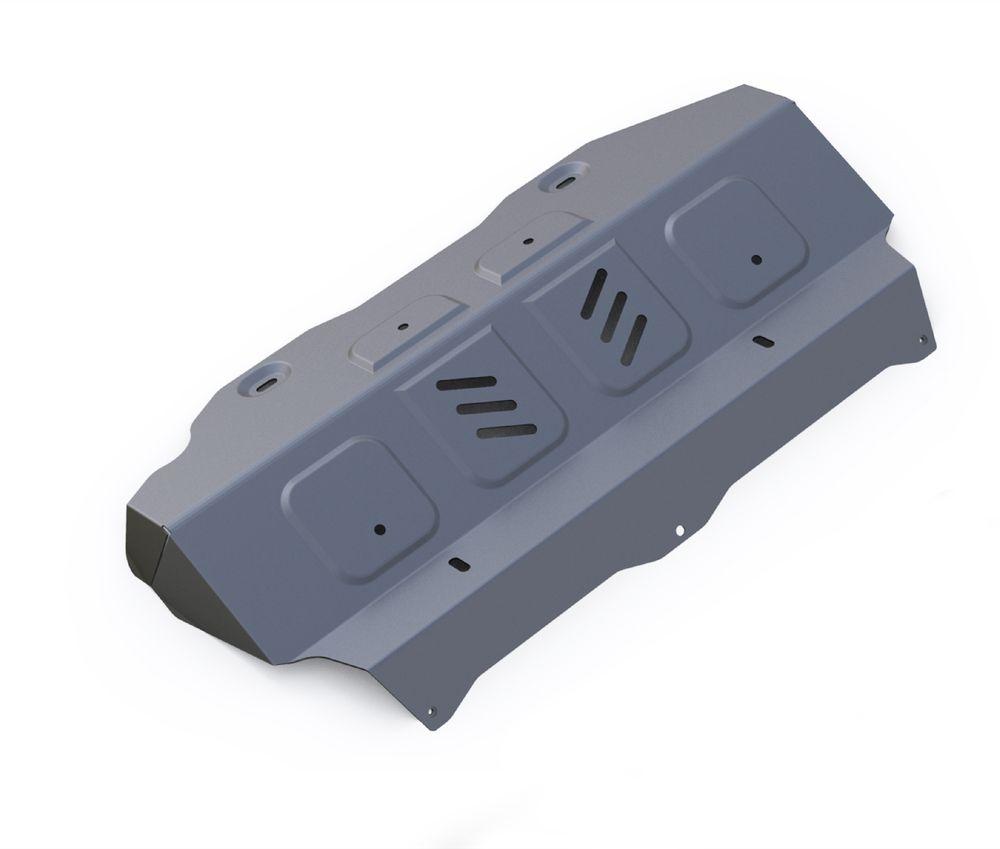 Защита радиатора и картера Rival, для Toyota Hilux. 3.9501.13.9501.1Защита радиатора и картера часть 1 для Toyota Hilux 4WD, V - 2,4; 2,8 2015- , без крепежа (штатный), алюминий 4 мм, Rival. Надежно защищают днище вашего автомобиля от повреждений, например при наезде на бордюры, а также выполняют эстетическую функцию при установке на высокие автомобили. - Толщина алюминиевых защит в 2 раза толще стальных, а вес при этом меньше до 30%. - Отлично отводит тепло от двигателя своей поверхностью, что спасает двигатель от перегрева в летний период или при высоких нагрузках. - В отличие от стальных, алюминиевые защиты не поддаются коррозии, что гарантирует срок службы защит более 5 лет. - Покрываются порошковой краской, что надолго сохраняет первоначальный вид новой защиты и защищает от гальванической коррозии. - Глубокий штамп дополнительно усиливает конструкцию защиты. - Подштамповка в местах крепления защищает крепеж от срезания. - Технологические отверстия там, где они необходимы для...