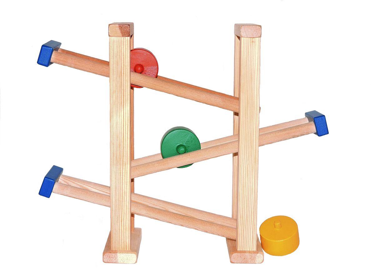 Таис Развивающая игрушка Горка КолесикиЦГК001Особенность игры в том, что детали-колесики сами катятся сверху вниз по направляющим. Игрушка развивает у ребенка внимание и усидчивость. В игре познаются законы движения предметов. Материал: сибирская лиственница.