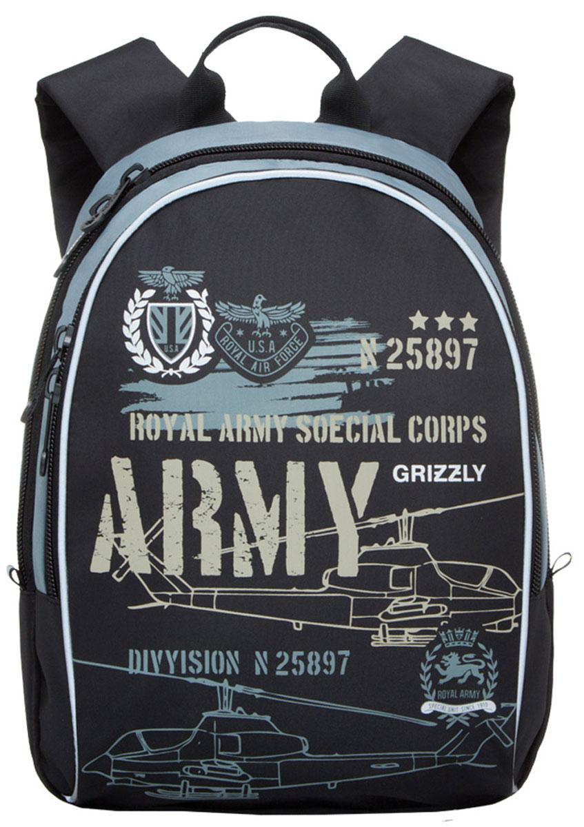 Grizzly Рюкзак школьный Army цвет черныйRB-628-3/1Школьный рюкзак Grizzly Army - это красивый и удобный рюкзак, который подойдет всем, кто хочет разнообразить свои школьные будни. Рюкзак выполнен из плотного материала и оформлен оригинальным принтом с военной тематикой. Рюкзак имеет одно основное отделение на молнии с двумя бегунками, внутри которого находится один открытый накладной карман. Спереди на рюкзаке располагается наружный карман на молнии с двумя бегунками, содержащий органайзер для школьных принадлежностей. Бегунки застежки-молнии дополнены удобными металлическими держателями с логотипом Grizzly. Мягкие широкие лямки со светоотражающими полосами позволяют легко и быстро отрегулировать рюкзак в соответствии с ростом. Рюкзак также оснащен петлей для подвешивания на вешалку. Многофункциональный школьный рюкзак станет незаменимым спутником вашего ребенка в походах за знаниями.