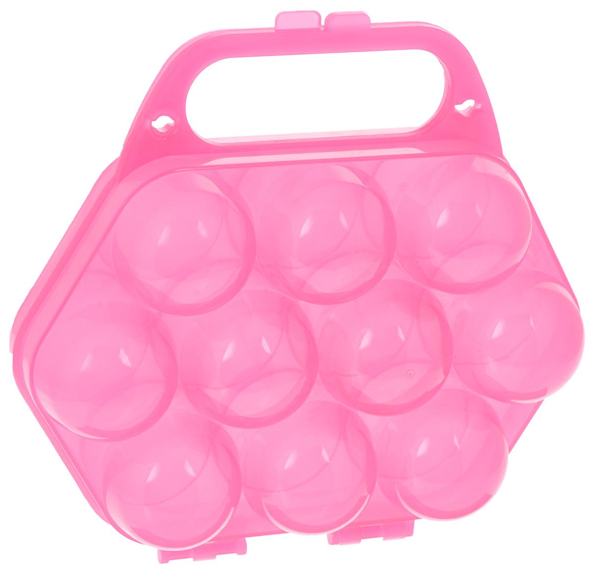 Контейнер для яиц Idea, на 10 шт, цвет: розовый, 20 см х 19 см х 7,5 смM1210Контейнер Idea выполнен из полупрозрачного пластика в виде чемоданчика и предназначен для хранения яиц. Контейнер снабжен специальными ячейками для 10 яиц. Надежный защелкивающийся замок предотвратит случайное раскрытие контейнера. Контейнер не занимает много места, что очень удобно при транспортировке, а также при хранении. Размер контейнера: 20 см х 19 см х 7,5 см. Диаметр ячейки: 4,3 см.