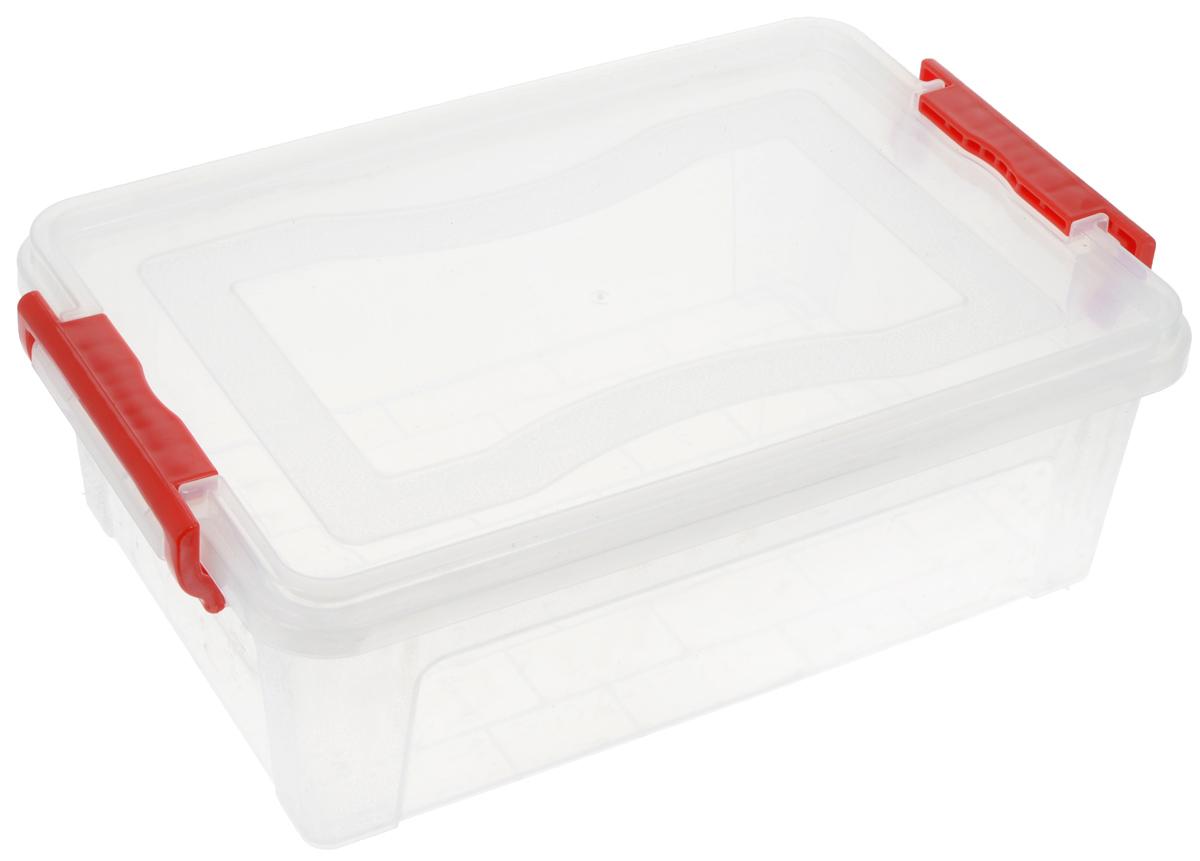 Контейнер для хранения Idea, прямоугольный, цвет: красный, прозрачный, 6,3 лМ 2861Контейнер для хранения Idea выполнен из высококачественного пластика. Контейнер снабжен двумя пластиковыми фиксаторами по бокам, придающими дополнительную надежность закрывания крышки. Вместительный контейнер позволит сохранить различные нужные вещи в порядке, а герметичная крышка предотвратит случайное открывание, защитит содержимое от пыли и грязи.