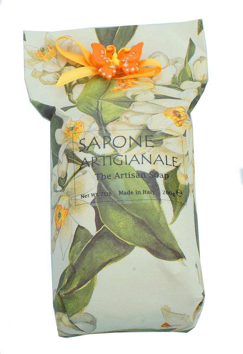 Iteritalia Мыло высококачественное растительное с ароматом жасмина в дизайнерской упаковке ручной работы с элементом декора, 200 г