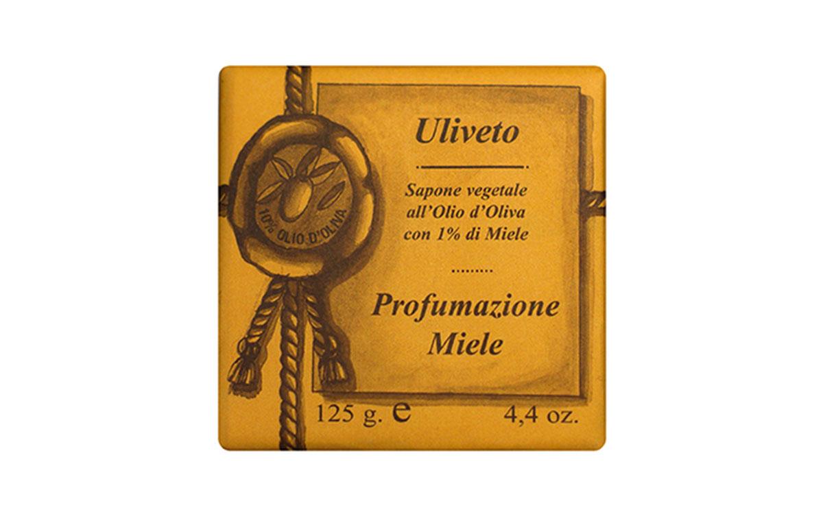 Iteritalia Мыло высококачественное натуральное растительное с оливковым маслом, с ароматом МЕД, 125 г
