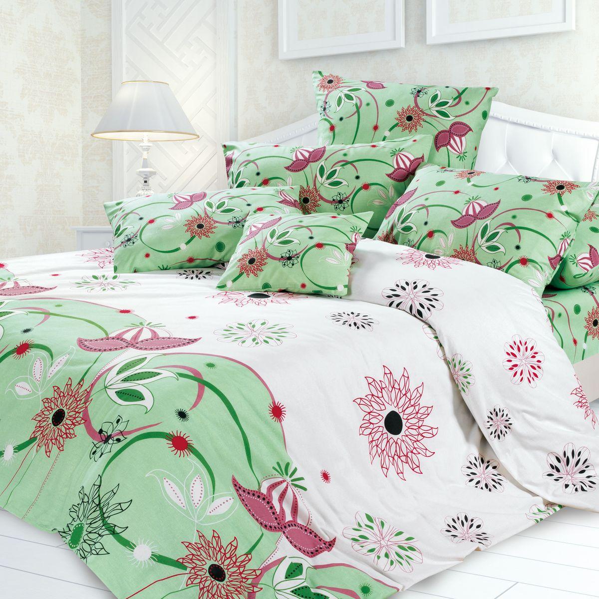 Комплект белья Унисон Моник, евро, наволочки 70 x 70, цвет: зеленый. 239634239634