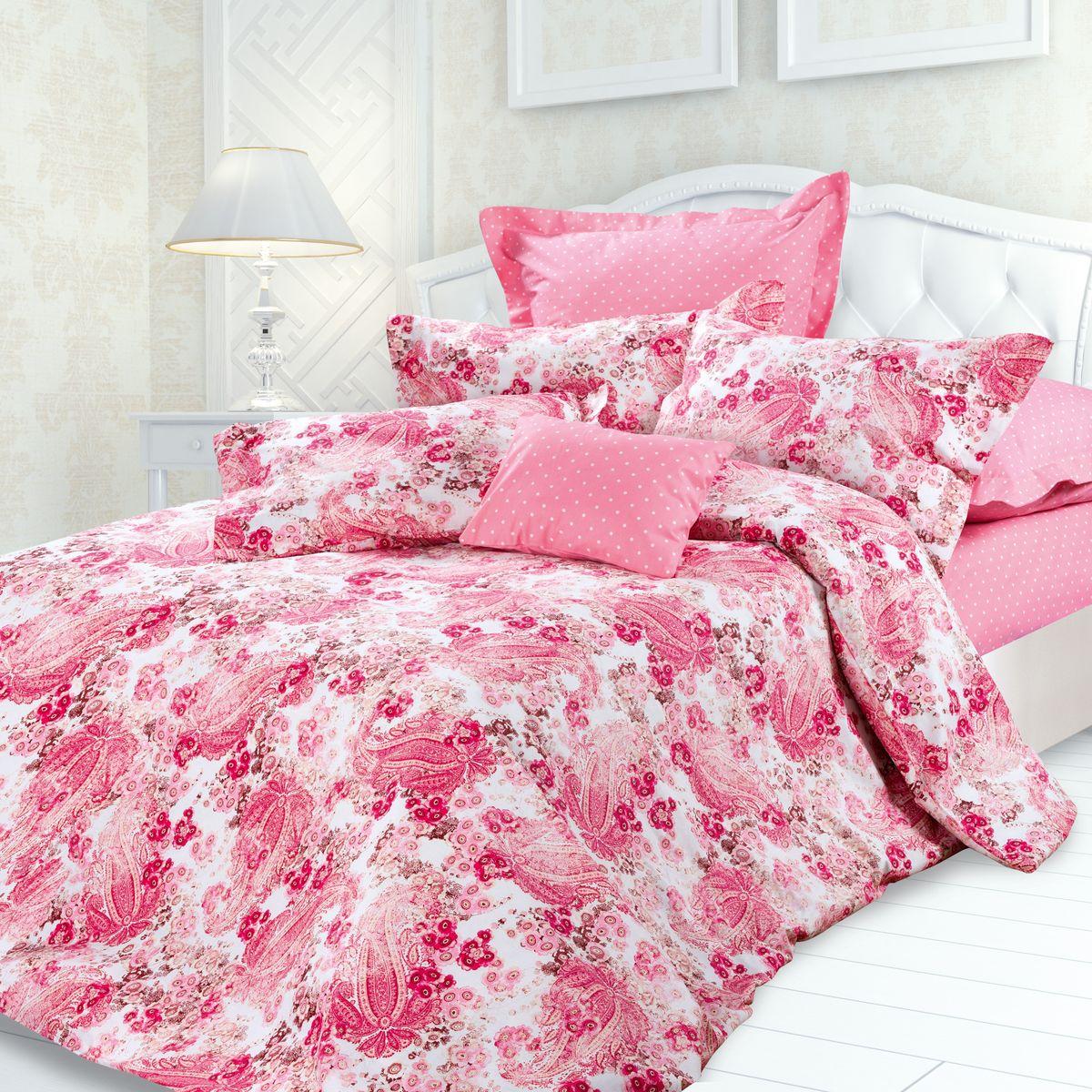 Комплект белья Унисон Линда, 1,5 спальное, наволочки 70 x 70, цвет: розовый. 239656239656