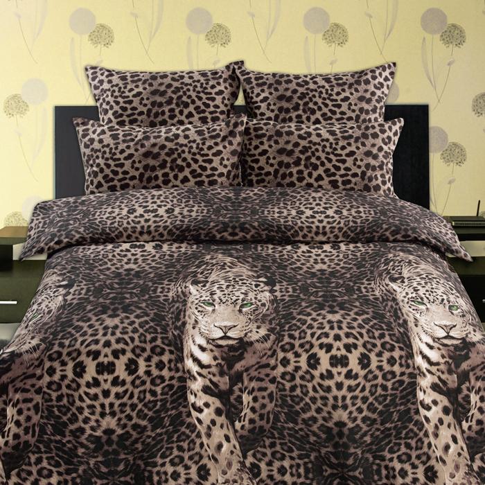 Комплект белья Романтика Живая планета Пятнистый леопард, семейный, наволочки 70 x 70, цвет: коричневый. 269277269277