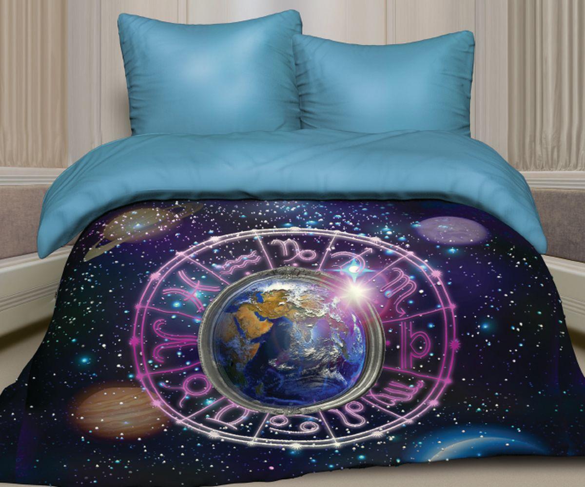Комплект белья Unison Зодиак, 1,5 спальное, наволочки 70 x 70, цвет: темно-синий. 276854276854