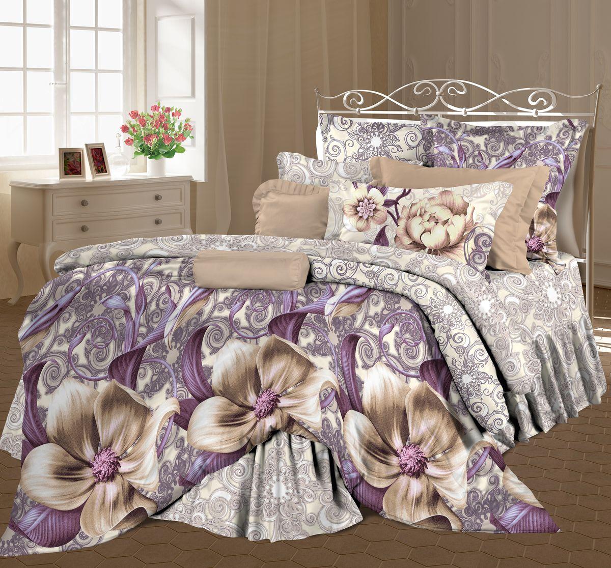 Комплект белья Романтика Энигма, 2-х спальное, наволочки 70 x 70, цвет: сиреневый. 317938317938