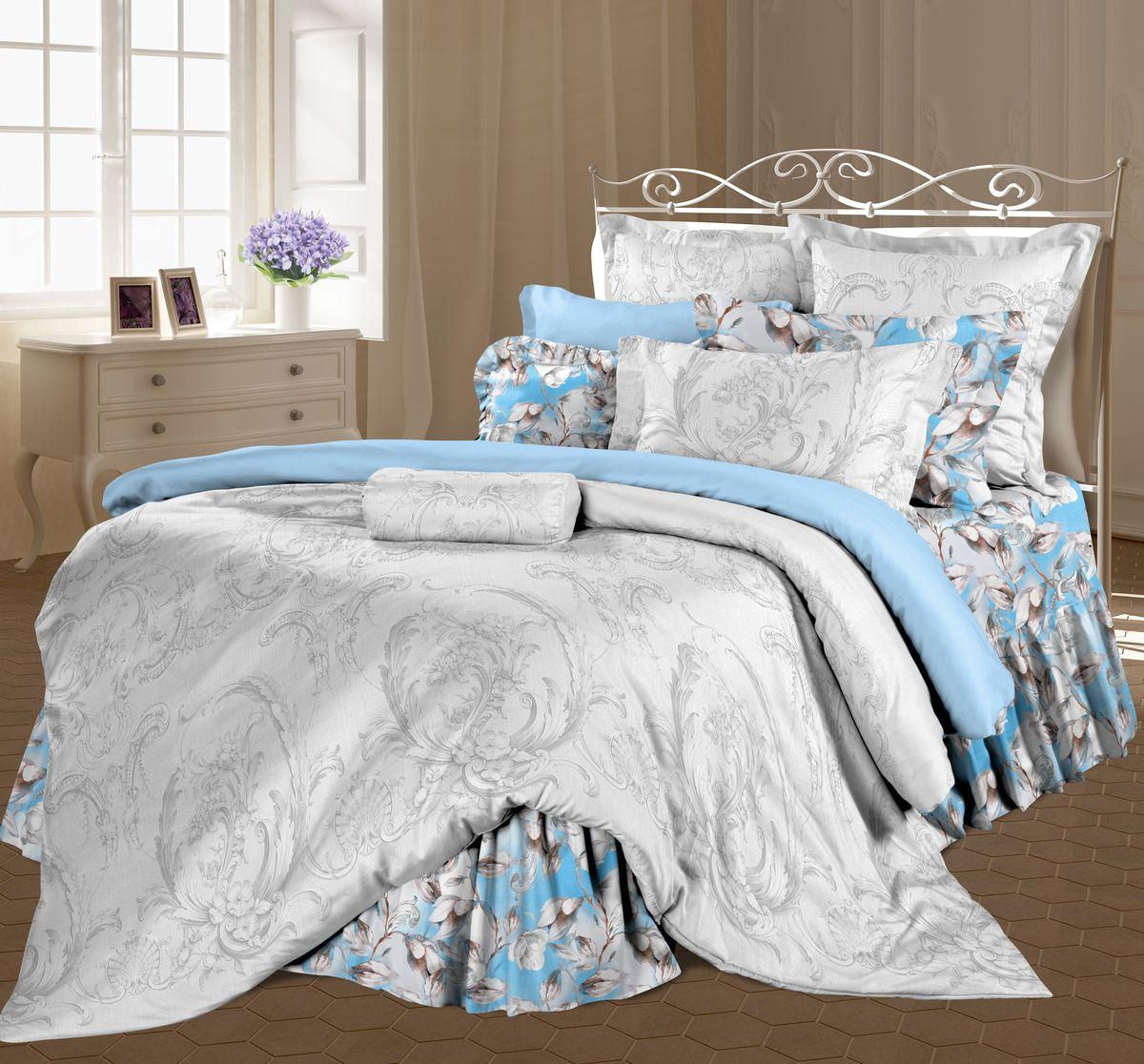 Комплект белья Романтика Миледи, семейный, наволочки 70 x 70, цвет: голубой. 317951317951