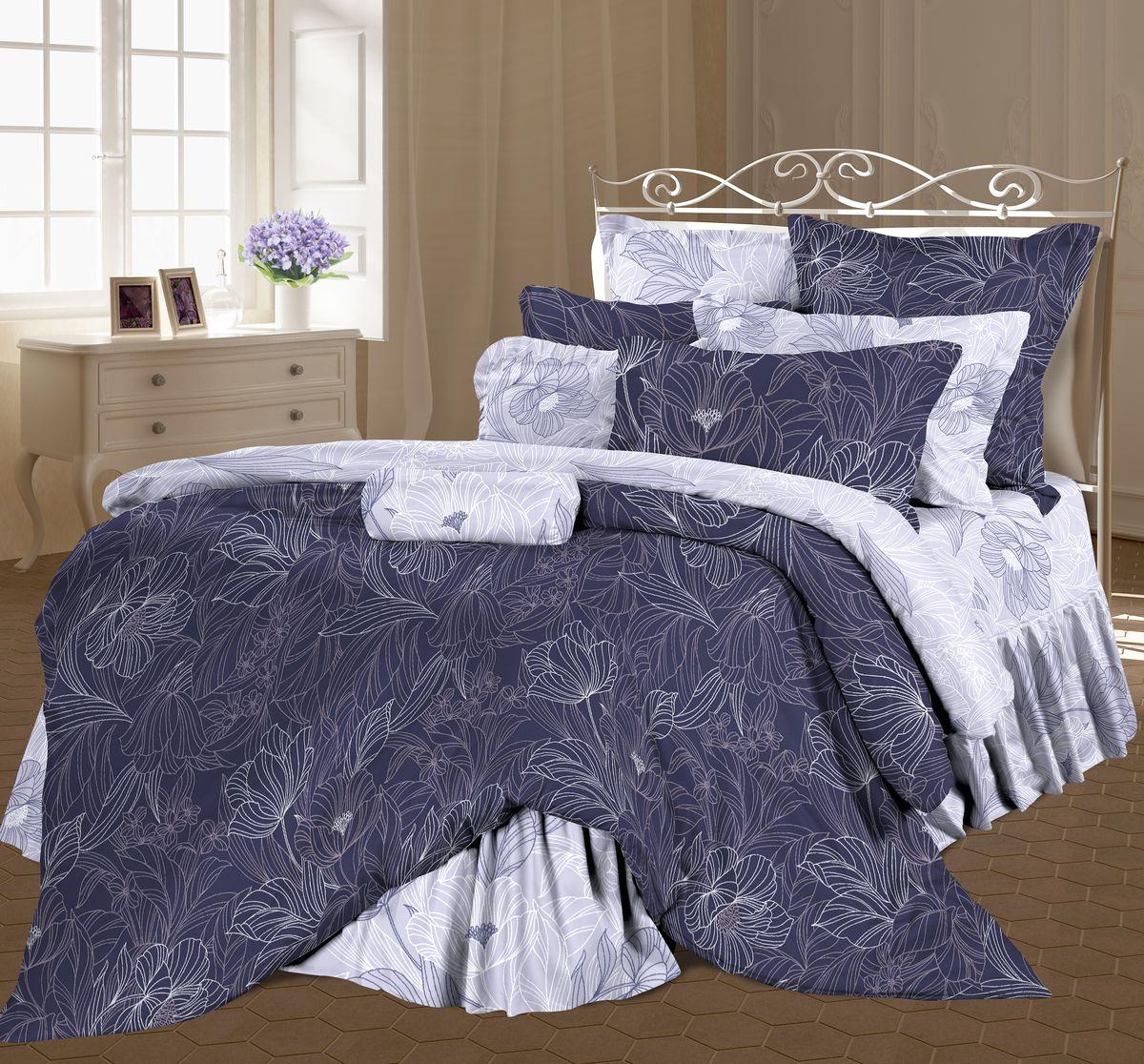 Комплект белья Романтика Консуэло, евро, наволочки 70 x 70, цвет: фиолетовый. 317980317980