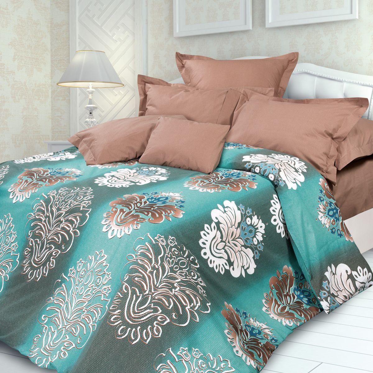 Комплект белья Унисон Фабрис, семейный, наволочки 70 x 70, цвет: бирюзовый. 318453318453