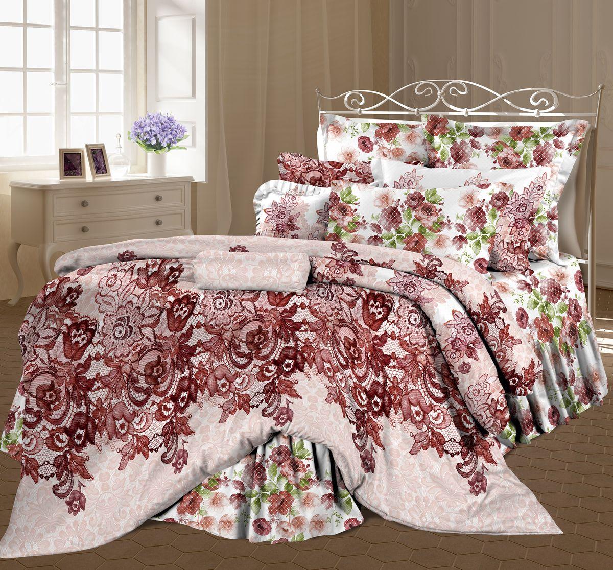 Комплект белья Романтика Ажурная сказка, семейный, наволочки 70 x 70, цвет: бордовый. 319492319492