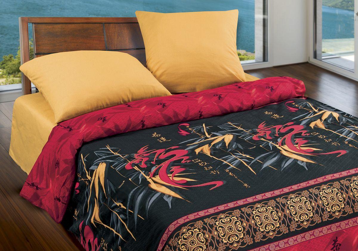 Комплект белья Wenge Dragon, 1,5 спальное, наволочки 70 x 70, цвет: черный. 320940320940