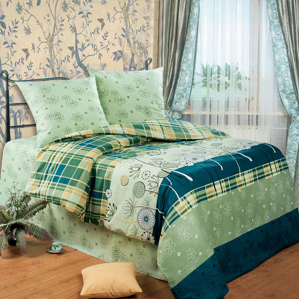 Комплект белья Любимый дом Гербарий, евро, наволочки 70 x 70, цвет: зеленый. 321436321436
