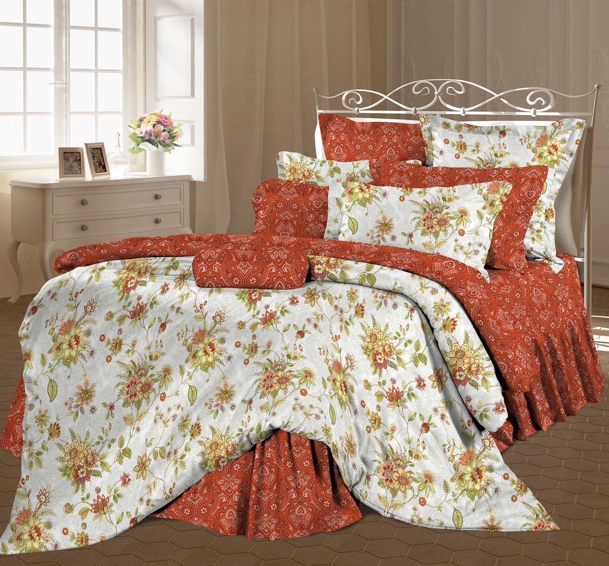 Комплект белья Романтика Клер, семейный, наволочки 70 x 70, цвет: коричнево-красный. 325267325267
